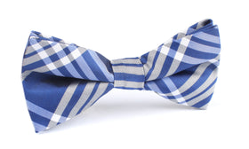 Cobalt Blue with White Stripes Bow Tie