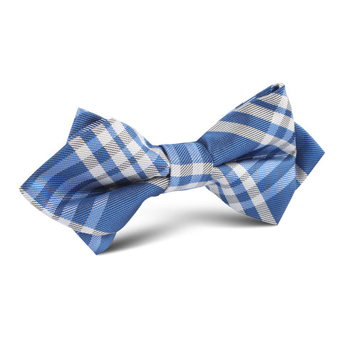 Cobalt Blue with White Stripes Diamond Bow Tie
