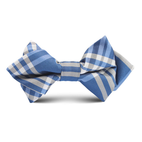 Cobalt Blue with White Stripes Kids Diamond Bow Tie