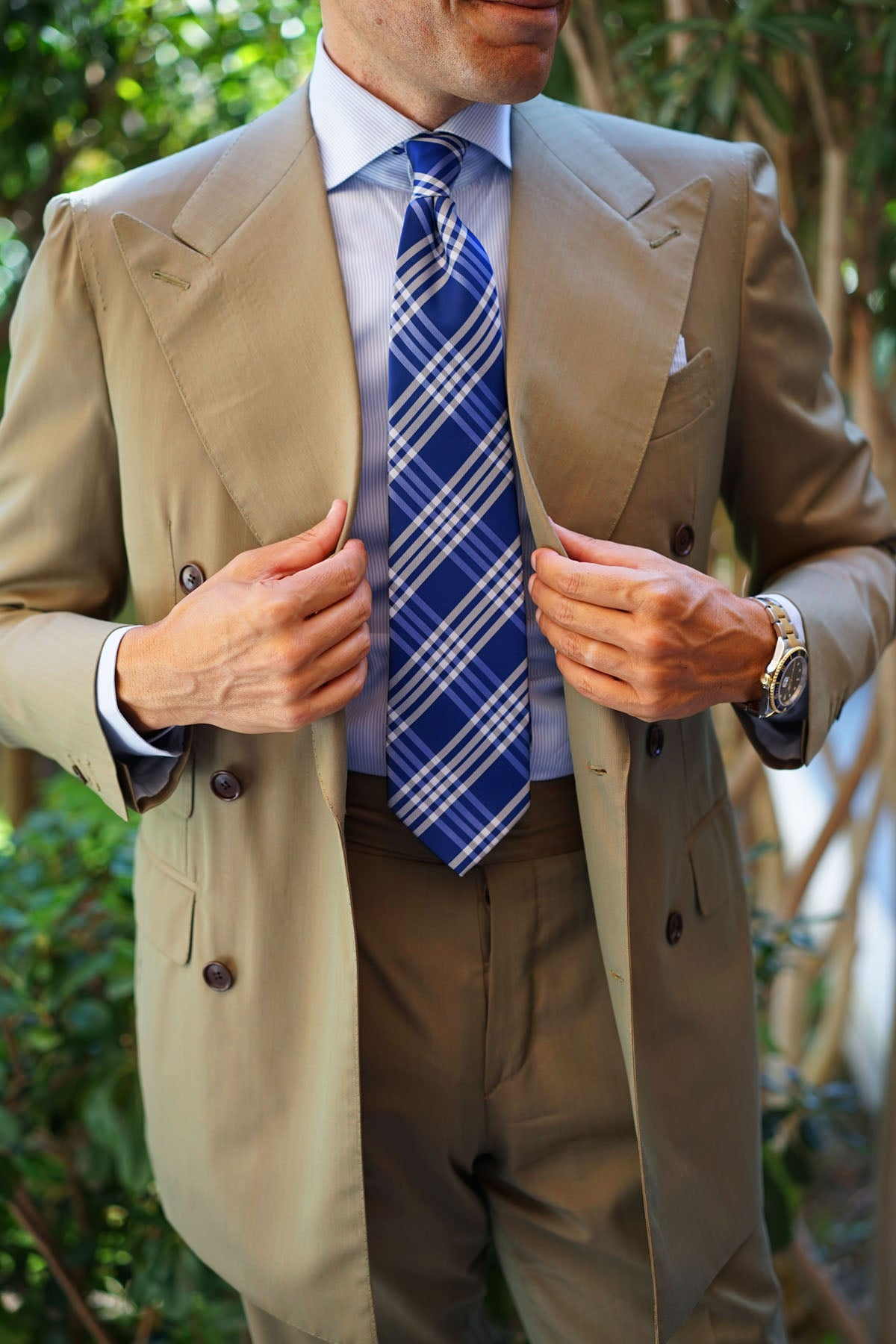 Cobalt Blue with White Stripes Necktie