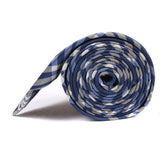 Cobalt Blue with White Stripes Necktie Side View