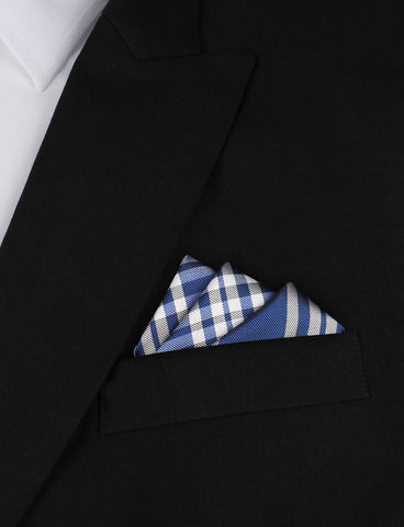 Cobalt Blue with White Stripes Pocket Square