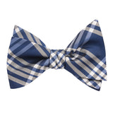 Cobalt Blue with White Stripes Self Tie Bow Tie Self tied knot by OTAA