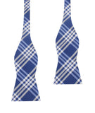 Cobalt Blue with White Stripes Self Tie Bow Tie