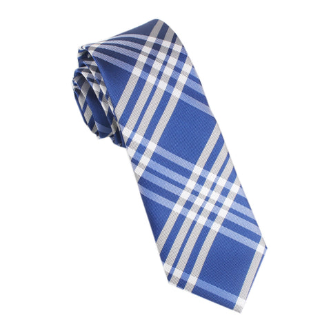 Cobalt Blue with White Stripes Skinny Tie
