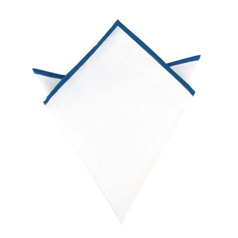 White Cotton Pocket Square with Cobalt Blue Border