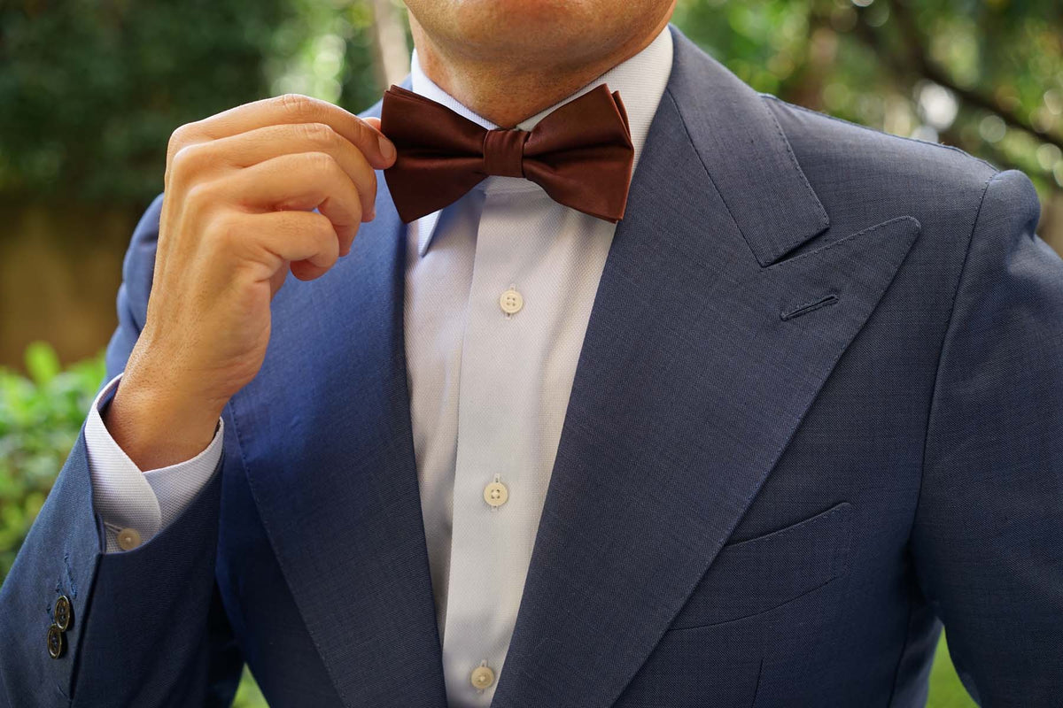 Cocoa Brown Satin Bow Tie