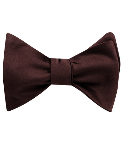 Cocoa Brown Satin Self Bow Tie