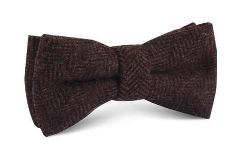 Coffee Herringbone Coarse Wool Bow Tie