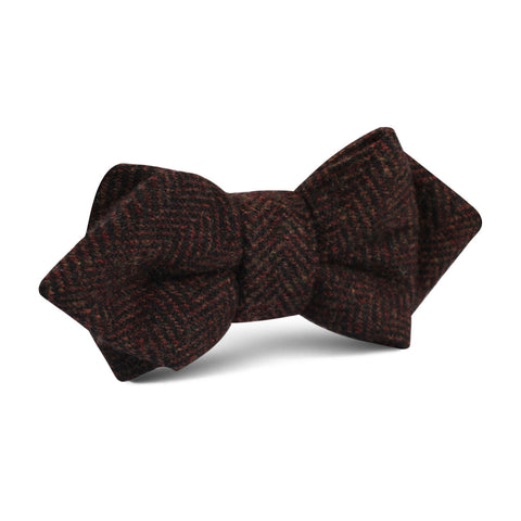 Coffee Herringbone Coarse Wool Diamond Bow Tie
