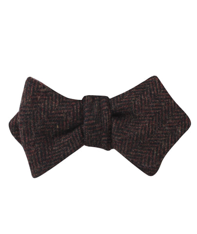 Coffee Herringbone Coarse Wool Diamond Self Bow Tie