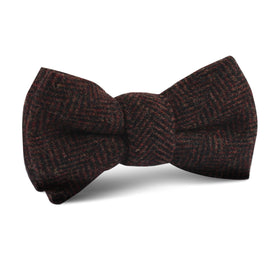 Coffee Herringbone Coarse Wool Kids Bow Tie