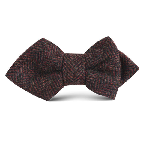 Coffee Herringbone Coarse Wool Kids Diamond Bow Tie