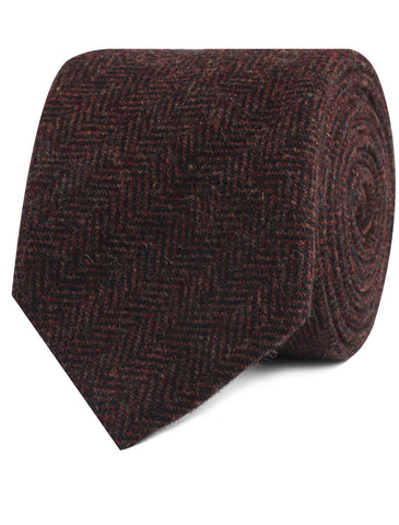 Coffee Herringbone Coarse Wool Tie