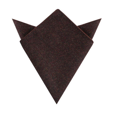 Coffee Herringbone Coarse Wool Pocket Square