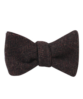 Coffee Herringbone Coarse Wool Self Bow Tie