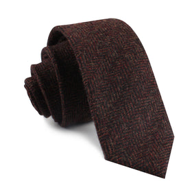 Coffee Herringbone Coarse Wool Skinny Tie