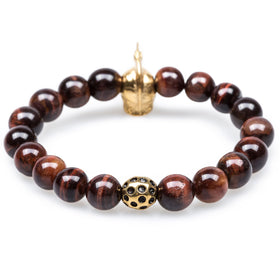 Colosseum Red Tiger's Eye Gold Warrior Bracelet