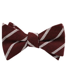 Columbus Burnt Burgundy Stripe Linen Self Bow Tie