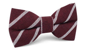 Columbus Burnt Burgundy Stripe Linen Bow Tie