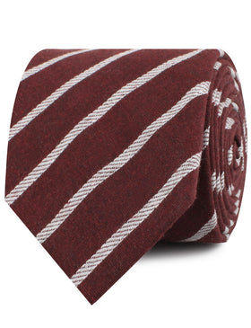 Columbus Burnt Burgundy Stripe Linen Necktie