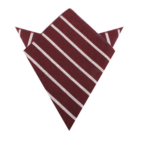 Columbus Burnt Burgundy Stripe Linen Pocket Square