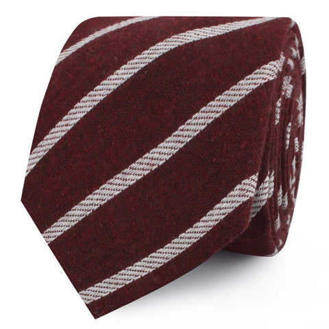 Columbus Burnt Burgundy Stripe Linen Skinny Tie