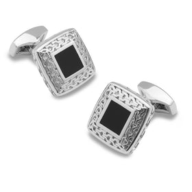 Commodus Aurelius Silver and Black Cufflinks
