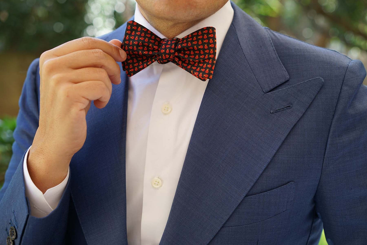 Coquelicot Red Beetle Self Bow Tie