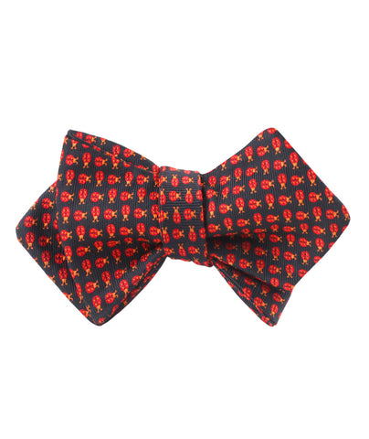 Coquelicot Red Beetle Diamond Self Bow Tie