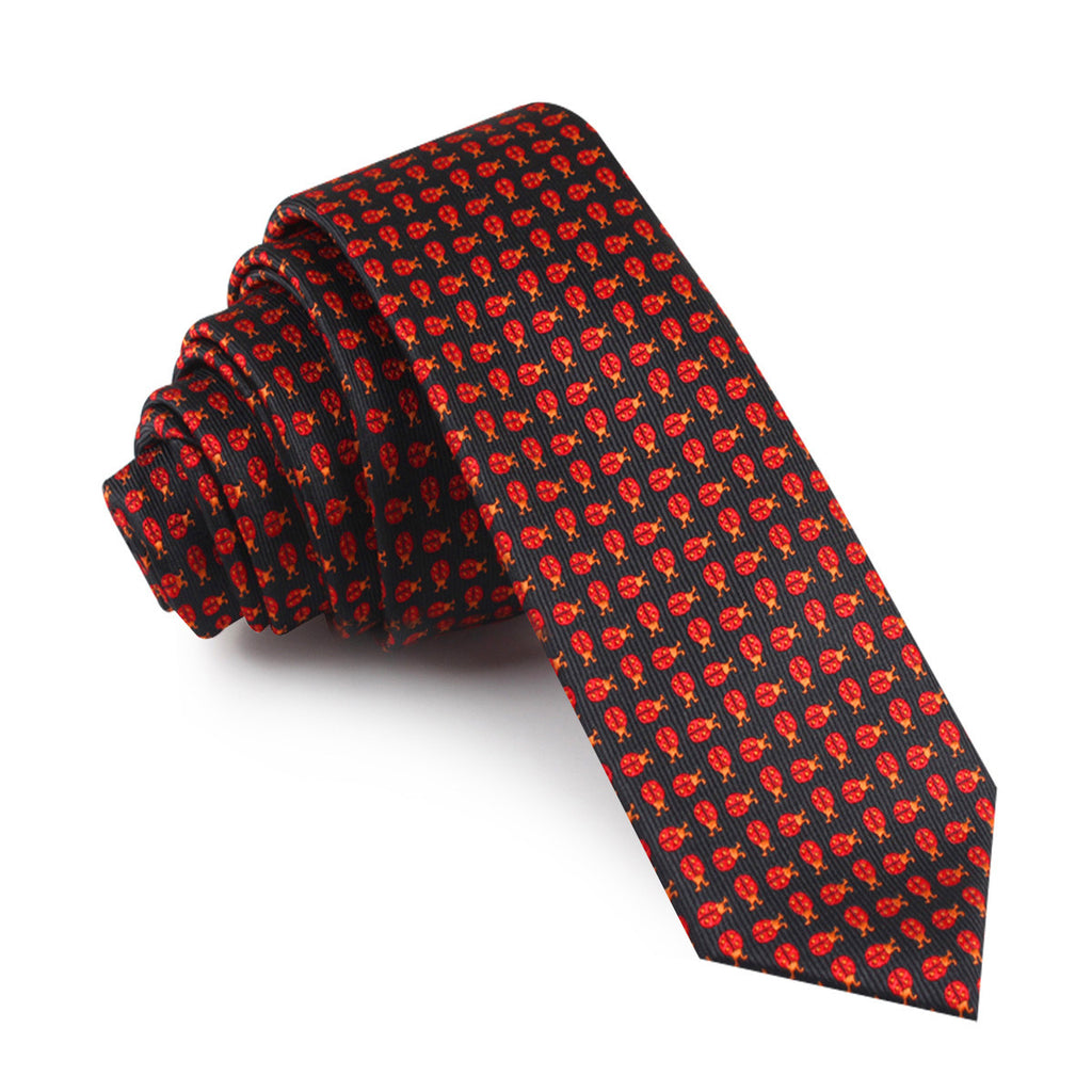 Coquelicot Red Beetle Skinny Tie