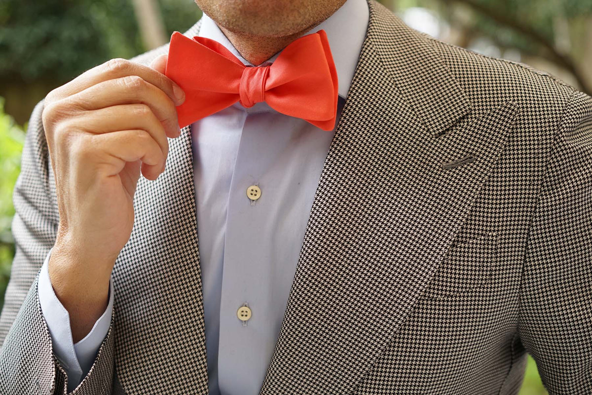 Coral Pink Cotton Self Tie Bow Tie
