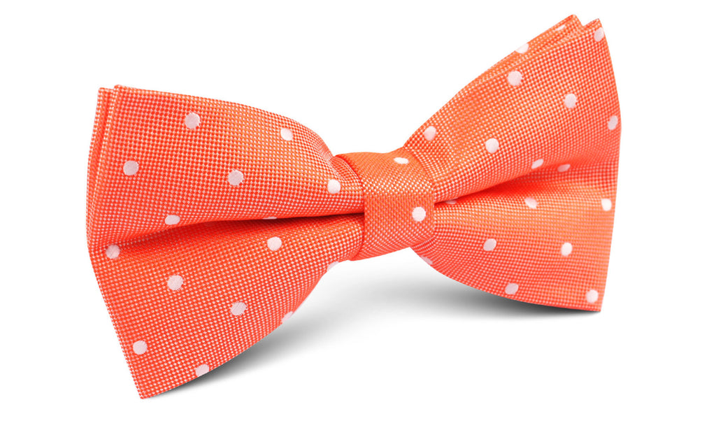 Coral Orange with White Polka Dots Bow Tie