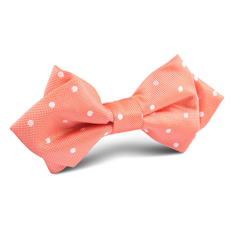 Coral Orange with White Polka Dots Diamond Bow Tie