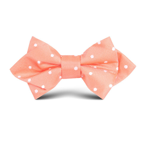 Coral Orange with White Polka Dots Kids Diamond Bow Tie