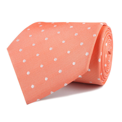 Coral Orange with White Polka Dots Necktie