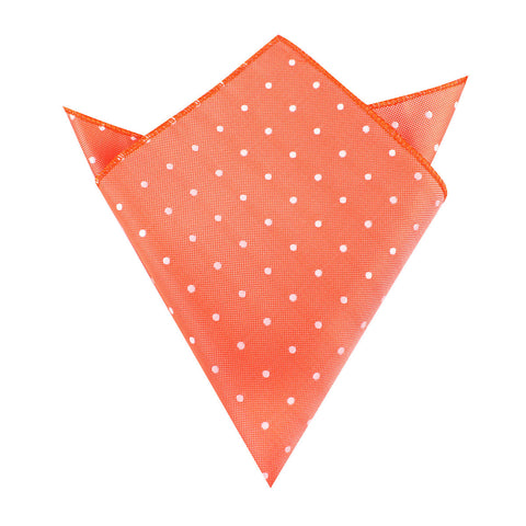 Coral Orange with White Polka Dots Pocket Square