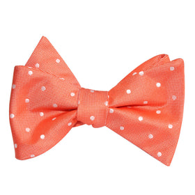 Coral Orange with White Polka Dots Self Tie Bow Tie