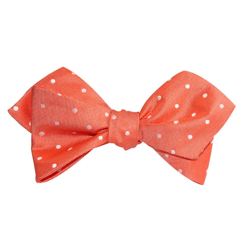 Coral Orange with White Polka Dots Self Tie Diamond Tip Bow Tie