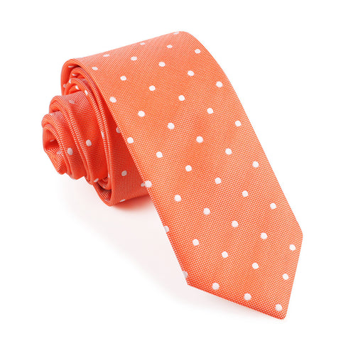 Coral Orange with White Polka Dots Skinny Tie
