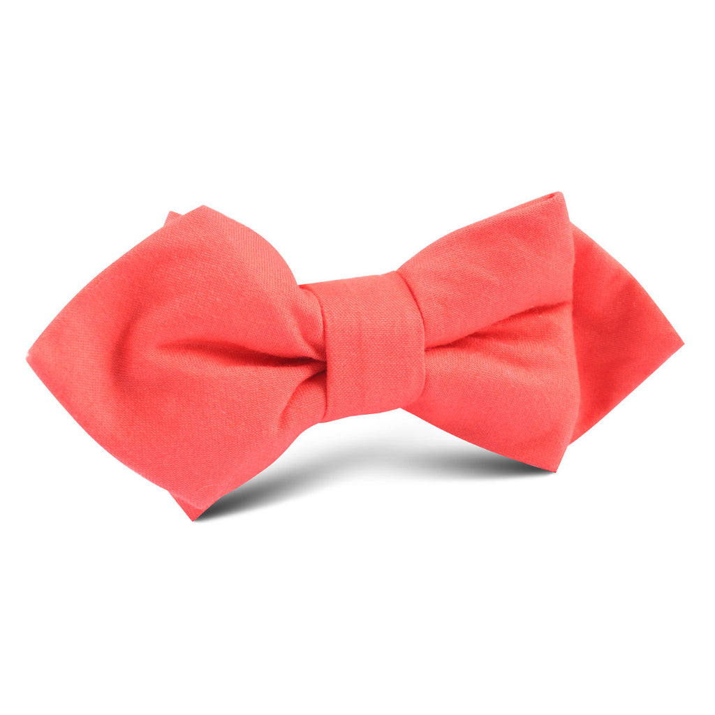Coral Pink Cotton Diamond Bow Tie