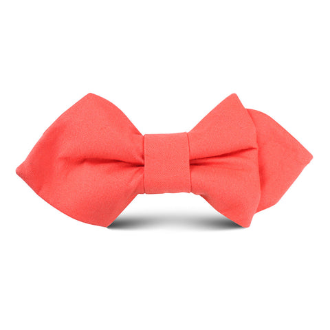 Coral Pink Cotton Kids Diamond Bow Tie