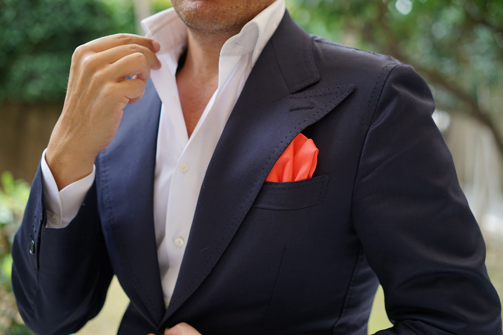Coral Pink Cotton Pocket Square