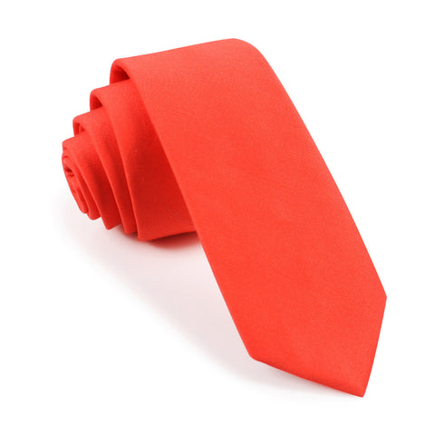 Coral Pink Cotton Skinny Tie