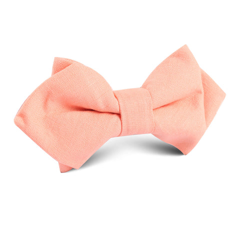 Coral Pink Linen Diamond Bow Tie