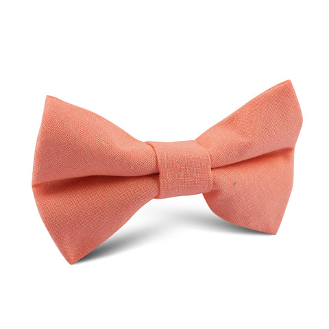 Coral Pink Linen Kids Bow Tie
