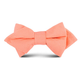 Coral Pink Linen Kids Diamond Bow Tie