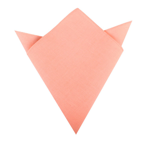 Coral Pink Linen Pocket Square