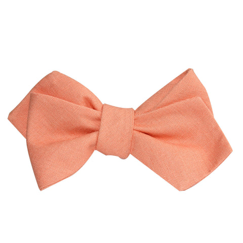 Coral Pink Linen Self Tie Diamond Tip Bow Tie