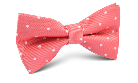 Coral Pink with White Polka Dots Bow Tie